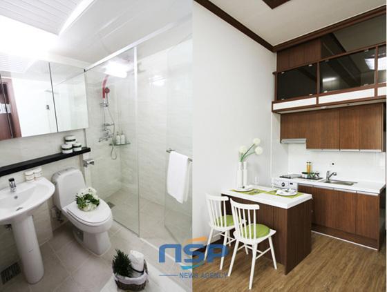 부산 하단시티파크는 각실마다 세탁기와 가스레인지 붙박이장 샤워부스 등 내구성과 디자인을 동시에 갖춘 시설로 구성돼 있다.