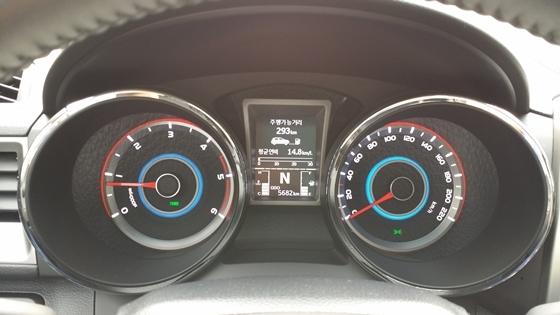 총 378,6km의 서울 경기 도심도로 11시간 22분, 33km/h 평균속도 연비 테스트에서 실제 도심연비 14,8km/L 기록