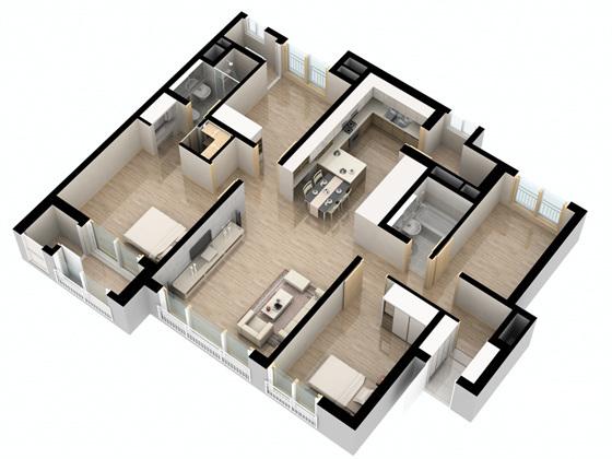 방이 네개로 구성된 84㎡형 C 타입 평면도. (사진 = 주영산업개발 제공)