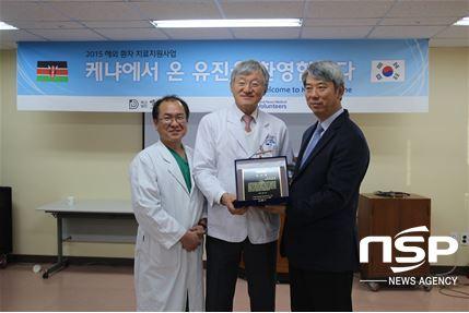 왼쪽부터 채병도 외과과장, 박경환 대동병원장, 박영준 부산대연교회 담임목사.