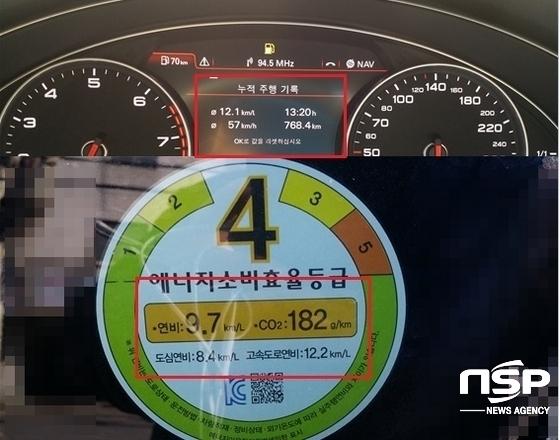 768.4km, 13시간 20분, 평균 속도 57km/h, 실제 평균 연비 12.1km/ℓ 기록 (사진 = 강은태 기자)