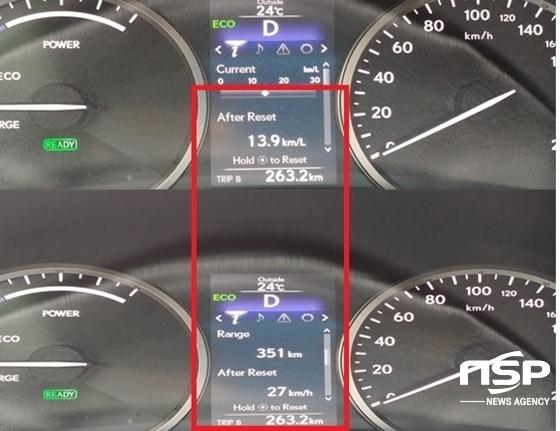총 263.2km, 27km/h의 평균속도 주행 후 실제 도심주행 평균 연비 13.9km/ℓ 기록 (사진 = 강은태 기자)