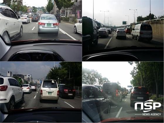 차량 정체로 꽉 막힌 서울 도심 도로 (사진 = 강은태 기자)