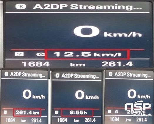 총 261.4km, 8시간 55분, 평균속도 29km/h 시승에서 기록된 실제 도심주행 연비 12.5km/ℓ표시 (사진 = 강은태 기자)