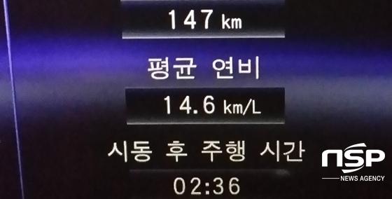147km, 2시간 36분 주행 후 체크한 렉서스 RX450h의 실제 복합연비 14.6km/ℓ 기록 (사진 = 강은태 기자)