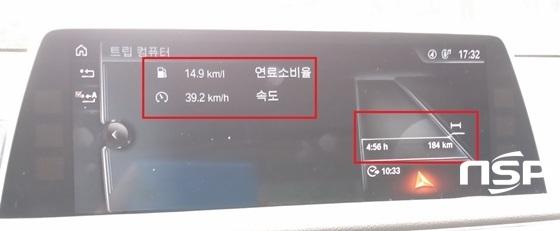 총 184km, 4시간 56분 동안  39.2km/h의 평균속도로 주행한 결과 실제 도심 연비 14.9km/ℓ를 기록 (사진 = 강은태 기자)