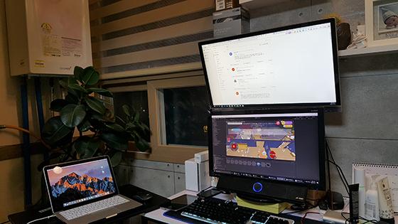 유진 대표가 혼자 개발하고 있는 아이진의 사무실 모습.