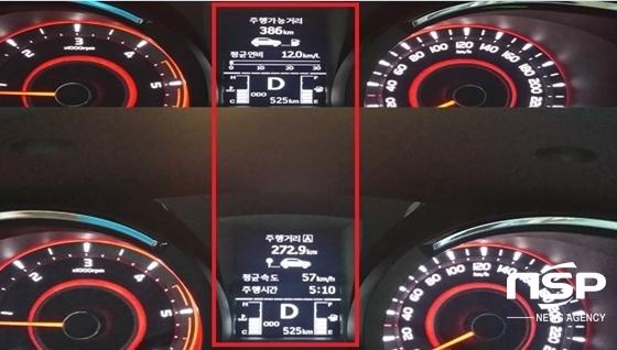총 272.9km를 57km/h의 평균속도로 5시간 10분 동안 주행한 후 체크한 쌍용차 뉴 스타일 코란도 C 2.2 DX의 실제연비 12.0km/ℓ 기록 (사진 = 강은태 기자)