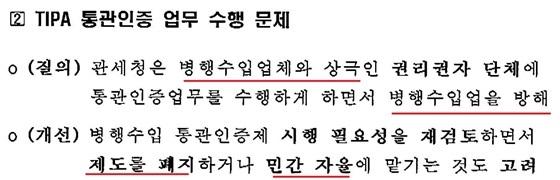 박영선 의원이 지난해 관세청 국감에서 관세청 산하 TIPA가 위탁받은 QR통관표시 제도에 대한 지적 (사진 = 한국병행수입업협회)