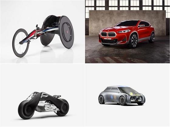 BMW 레이싱 휠체어(위 좌),BMW X2 콘셉트(위 우),BMW 모토라드 비전 넥스트(아래 좌), MINI 비전 넥스트(아래 우) (사진 = BMW)