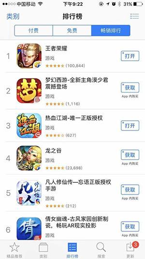 열혈강호 모바일이 13일 기준 iOS 최고매출부문에서 3위를 기록했다.