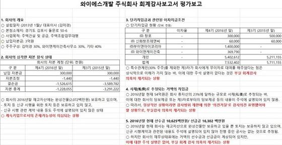 30년 경력의 공인회계사 A씨가 분석한 와이에스개발(주)의 2016년 말 기준 회계감사 분석 평가보고서 (사진 = 강은태 기자)