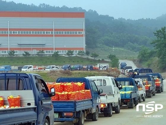 참외 농사 차량이 참외를 싣고 성주군 월향면 매립장으로 이동하고 있다. (사진 = 성주 주민 제공)