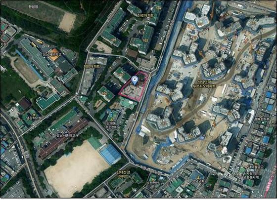 성남시가 직접 건설하는 60가구 규모 단대동 130번지 행복주택 위치도. (사진 = 성남시)