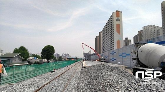 대구선 복선전철 2공구 하양역사 공사현장 전경 (사진 = 한국철도공사 대구지역본부)