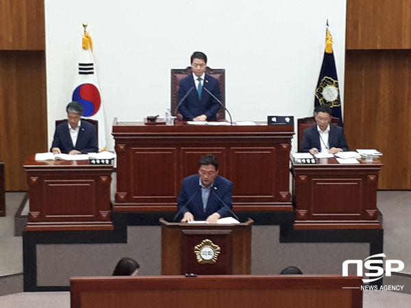 이동협 의원이 13일 경주시의회 본회의장에서 5분 자유발언을 하고 있다. (사진 = 권민수 기자)