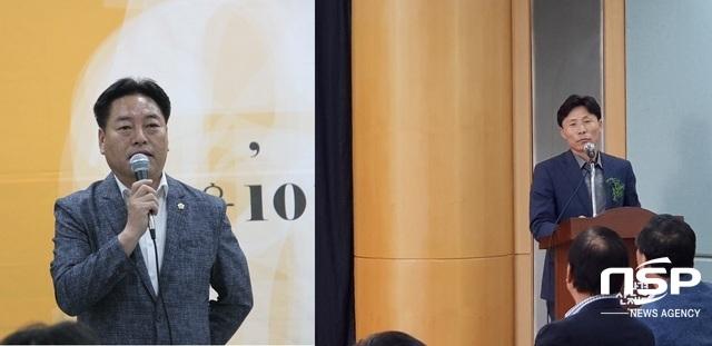 김동규 안산시의장(좌)이 축사를 전준호 안산환경재단 대표이사가 인사말을 하고 있다. (사진 = 박승봉 기자)