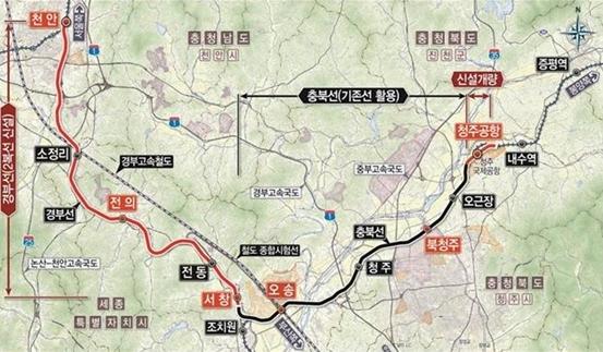 천안~청주공항 복선전철 건설사업 노선도 (사진 = 한국철도시설공단)