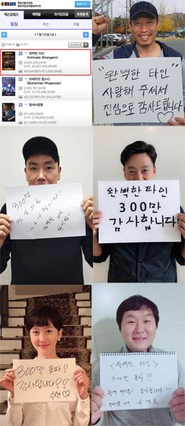 11월 11 오전 7시 10분 영화진흥위원회 통합전산망과 배우들의 사진. (사진 = 롯데엔터테인먼트)