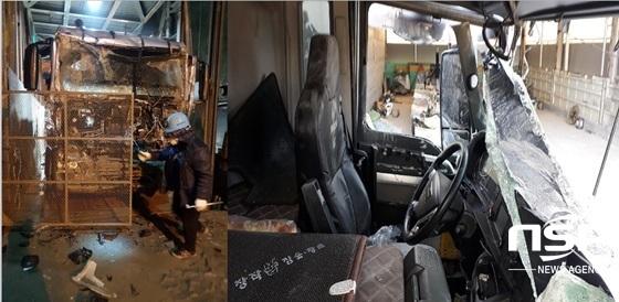 지하 80미터 구간에 있는 사고 차량과 리프트(좌) 및 지상에 올려진 사고차량 내부(우) (사진 = 강은태 기자)