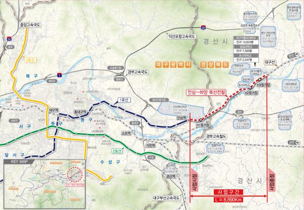 대구 동구~경산 하양 대구도시철도 1호선 위치도