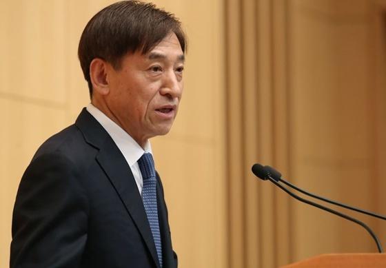 이주열 한국은행 총재가 12일 오전 서울 중구 부영태평빌딩에서 열린 한국은행 창립 제69주년 기념식에 참석해 창립기념사를 하고 있다. (사진 = 한은)