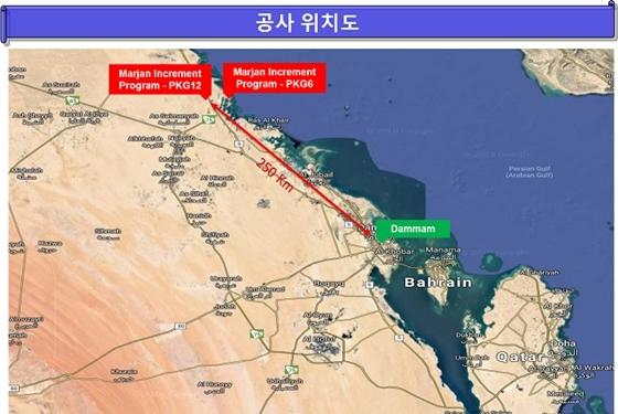 사우디 마르잔 개발 프로젝트(패키지6,12) 위치도 (사진 = 현대건설)
