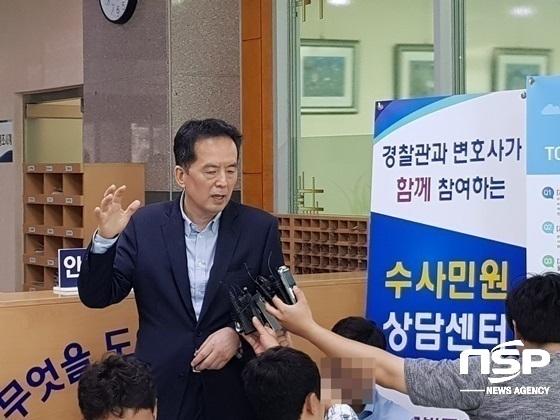 법무법인 바른 소속의 하종선 변호사가 남대문 경찰서에서 기자들의 질의에 답변하고 있다 (사진 = 강은태 기자)