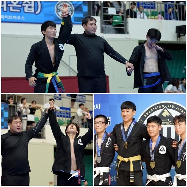 (위쪽 시계방향으로)김진우 블루어덜트 승리, 김현대 승리, 아이기스 조준호1위, 전중현 3위 입상들이 우승 기념 촬영을 하고 있다.