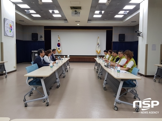 국립암센터 노사가 행정동 지하 1층 강당에서 임금협상을 벌이고 있다. (사진 = 강은태 기자)