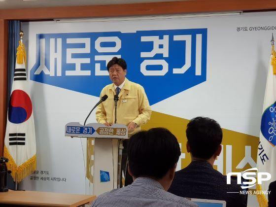 브리핑하는 김용 경기도 대변인. (사진 = 김병관 기자)
