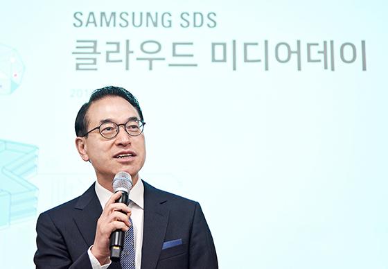 삼성SDS 홍원표 대표가 20일 춘천 데이터센터에서 열린 클라우드 미디어데이 에서 환영사를 전하고 있다. (사진 = 삼성SDS)