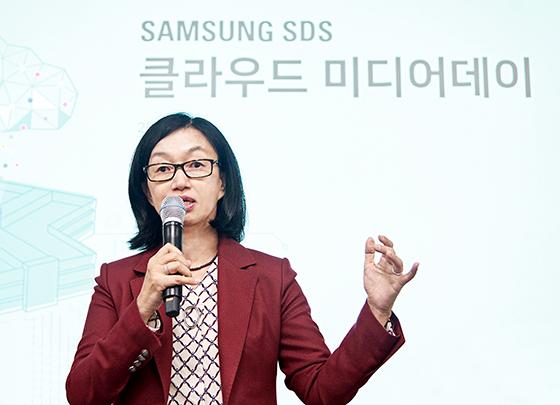 삼성SDS 클라우드사업부장 윤심 부사장이 삼성SDS 클라우드를 소개하고 있다. (사진 = 삼성SDS)