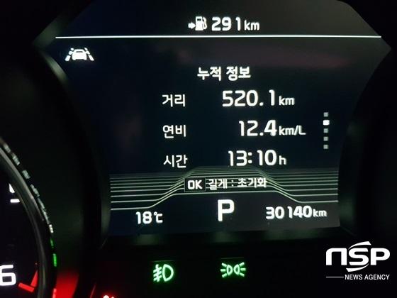 총 520.1km, 13시간 10분 시승 후 실제 복합 연비 12.4km/ℓ 기록 (사진 = 강은태 기자)