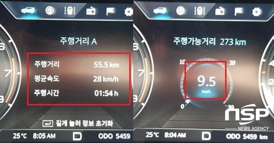 총 55.5km를 28km/h의 평균속도로 1시간 54분 주행한 결과 실제 연비 9.5km/ℓ 기록 (사진 = 강은태 기자)