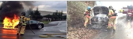 차량 배터리 폭발 시연(좌)과 전기자동차 화재진압 훈련(우) (사진 = 소방청)
