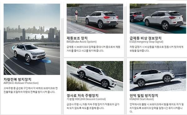 쌍용차 코란도 가솔린 모델에 탑재된 안전 기능 설명 내용 (사진 = 쌍용차 홈피 캡쳐)