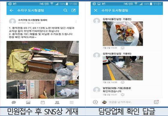 용인시에서 생활폐기물 관련 민원에 신속히 대응하기 위해 만든 SNS 커뮤니티 활용 모습. (사진 = 용인시)