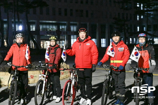 정희용 전 경제특보(가운데)는 8일 경북도청에서 고향인 칠곡군 호국평화기념관까지 116km의 거리를 자전거로 완주했다. (사진 = 정희용 전 특보사무실)
