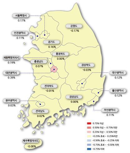 시도별 아파트 매매가격지수 변동률 (이미지=한국감정원)