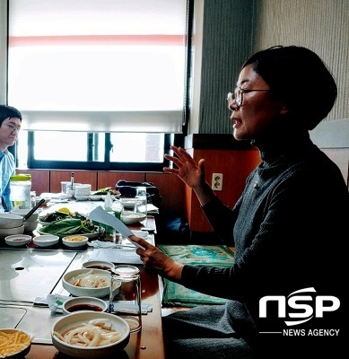 취임소감을 밝히고 있는 김순자 신임 제주학연구센터장