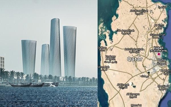 좌측부터 루사일 플라자 타워 플롯3·플롯4(각각 맨 오른쪽, 왼쪽에서 3번째), 위치도 (이미지=현대건설)