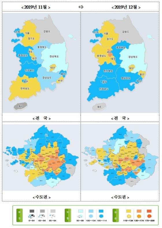 주택시장 소비심리지수(전국, 수도권) (자료=국토연구원)