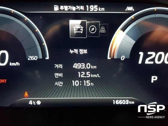 493.0km, 10시간 15분 시승 결과 실제 연비 12.5km/ℓ 기록 (사진 = 강은태 기자)