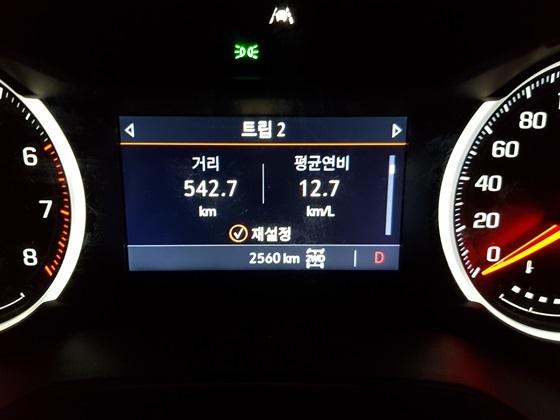 총 542.7km 시승결과 실제 복합연비 12.7km/ℓ 기록