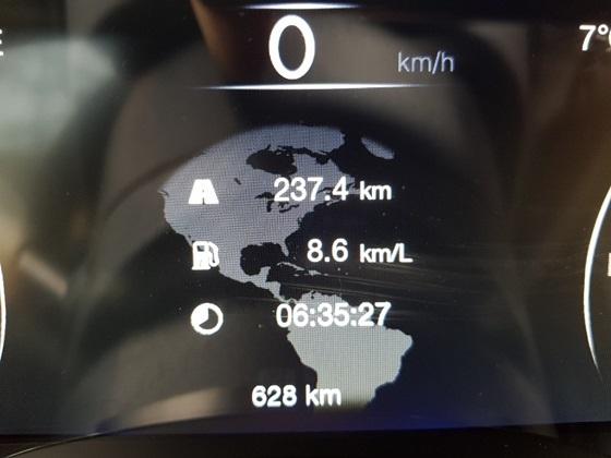 총 237.4km 구간을 6시간 35분 27초 동안 시승결과 실제 복합연비 8.6km/ℓ 기록 (사진 = 강은태 기자)