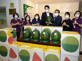 [포토]조원태 회장, 강서구 소외계층 위해 수박 기부