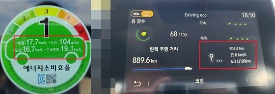 총 902.4km 구간을 평균시속 25.0km/h의 속도로 시승한 결과 실제 도심연비 15.8km/ℓ(6.3L/100km) 기록 (사진 = 강은태 기자)