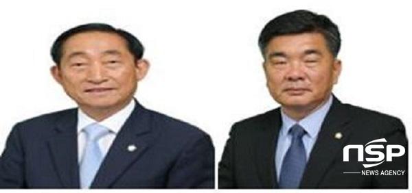 고흥군의회 제8대 후반기 의장으로 선출된 송영현 의장,이재학 부의장(좌로부터) (사진 = 고흥군의회)