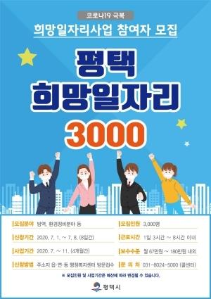 평택 희망일자리 3000 참여자 모집 안내 포스터. (사진 = 평택시)